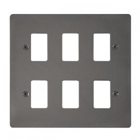 Click Define Black Nickel 6 Gang Grid Pro Front Plate FPBN20506