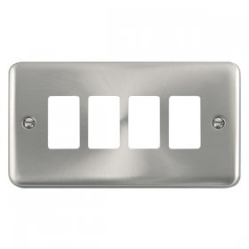 Click Deco Plus Sat/Chrome 4 Gang Grid Pro Front Plate DPSC20404