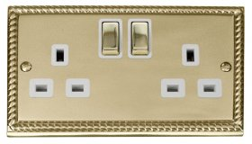 Click Deco Georgian Brass 13A Double Switched Socket GCBR536WH