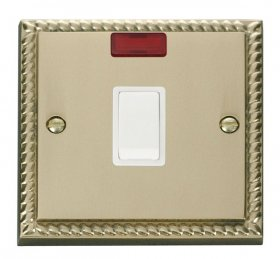 Click Deco Georgian Brass 20A Double Pole Switch Neon GCBR623WH