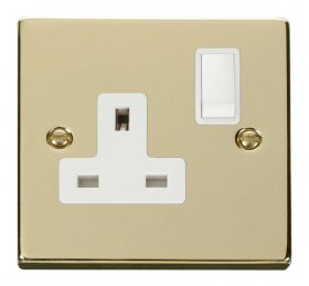 Click Deco Polished Brass 13A Single Switched Socket VPBR035WH