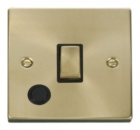 Click Deco Satin Brass 20A DP Switch with Flex Outlet VPSB522BK