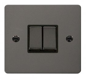 Click Define Black Nickel 2 Gang 2 Way Switch FPBN412BK