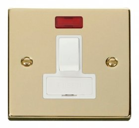 Click Deco Polished Brass Switched Fused Spur + Neon VPBR652WH