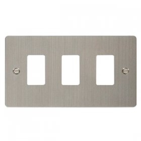 Click Define S/Steel 3 Gang Grid Pro Front Plate FPSS20403