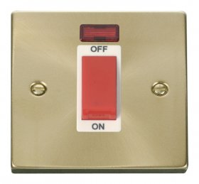 Click Deco Satin Brass 1 Gang 45A DP Switch with Neon VPSB201WH
