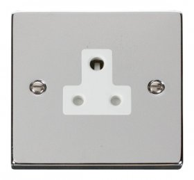 Click Deco Polished Chrome 5A Single Round Pin Socket VPCH038WH