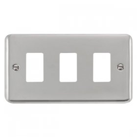 Click Deco Plus Pol/Chrome 3 Gang Grid Pro Front Plate DPCH20403