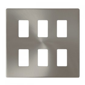 Click Definity B/Steel 6 Gang Grid Pro Front Plate SCP20506BS