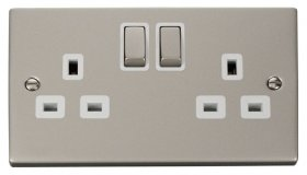 Click Deco Pearl Nickel 13A Double Switched Socket VPPN536WH