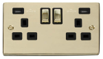 Click Deco Polished Brass Twin USB Double Socket VPBR580BK