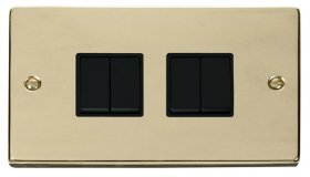 Click Deco Polished Brass 4 Gang 2 Way Switch VPBR019BK