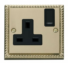 Click Deco Georgian Brass 13A Single Switched Socket GCBR035BK
