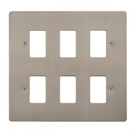 Click Define S/Steel 6 Gang Grid Pro Front Plate FPSS20506