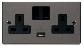 Click Deco Black Nickel USB Double Switched Socket VPBN770BK