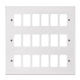 Click Polar White 18 Gang Grid Pro Front Plate PRW20518