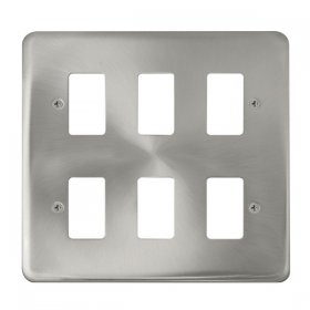 Click Deco Plus Sat/Chrome 6 Gang Grid Pro Front Plate DPSC20506