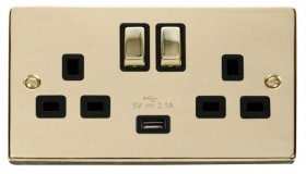 Click Deco Polished Brass USB Double Switched Socket VPBR570BK
