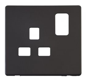 Click Definity 13A 1 Gang Switched Socket Cover Plate SCP435BK