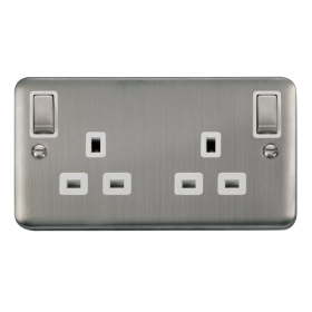 Click Deco Plus 13A Double Switched Socket DPSS836WH