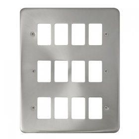 Click Deco Plus Satin Chrome 12 Gang Grid Pro Plate DPSC20512