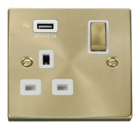 Click Deco Satin Brass USB Single Switched Socket VPSB571UWH
