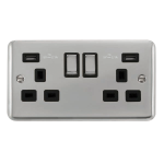 Click Deco Plus Twin USB Double Switched Socket DPCH580BK