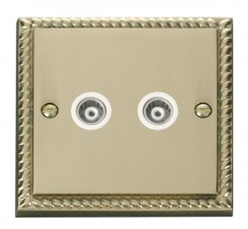 Click Deco Georgian Brass Twin Isolated Coaxial Socket GCBR159WH