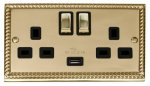 Click Deco Georgian Brass Double Switched USB Socket GCBR570BK