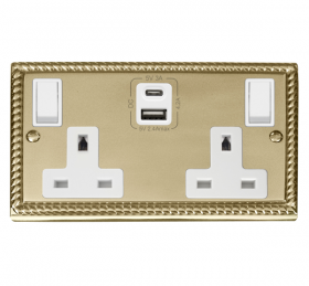 Click Deco Georgian Brass Type A & C USB Double Socket GCBR786WH