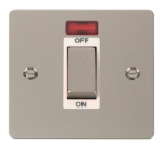 Click Define Pearl Nickel 45A Double Pole Switch Neon FPPN501WH