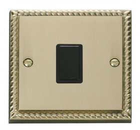 Click Deco Georgian Brass 20A Double Pole Switch GCBR622BK