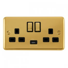 Click Deco Plus 13A Double Switched Socket USB DPBR570BK