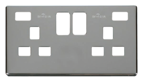 Click Definity Twin USB Double Socket Cover Plate SCP470CH