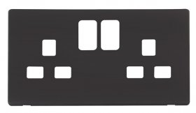 Click Definity 13A 2 Gang Switched Socket Cover Plate SCP436BK