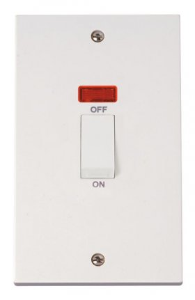 Click Polar 45A 2 Gang Single Cooker Switch with Neon PRW503