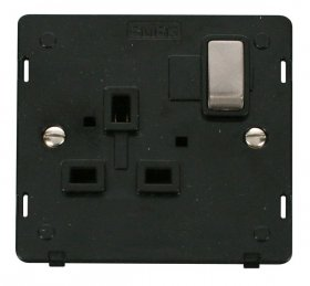 Click Definity 1 Gang Switched Socket Outlet Insert SIN535BKBS