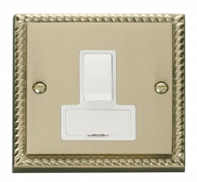 Click Deco Georgian Brass Switched Fused Spur GCBR651WH