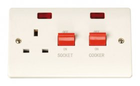Click Curva CCA205 45A Cooker Sw + 13A Switched Socket + Neons