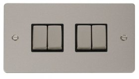 Click Define Pearl Nickel 4 Gang 2 Way Switch FPPN414BK
