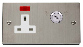 Click Deco S/Steel 13A 2 Gang Key Lockable Socket Neon VPSS675WH