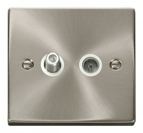 Click Deco Satin Chrome Non-Isolated Sat & Coax Socket VPSC170WH