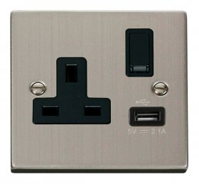 Click Deco Stainless Steel USB Single Switched Socket VPSS771BK