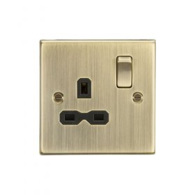 Knightsbridge Antique Brass 13A Single Switched Socket CS7AB