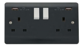 Click Mode Part M Twin USB Double Switched Socket CMA780AG