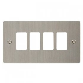 Click Define S/Steel 4 Gang Grid Pro Front Plate FPSS20404