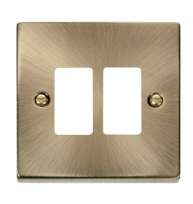 Click Deco Antique Brass 2 Gang Grid Pro Front Plate VPAB20402
