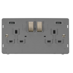 Click Definity Twin USB Double Switched Socket Insert SIN580GYBS