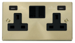 Click Deco Satin Brass Twin USB Double Socket VPSB780BK