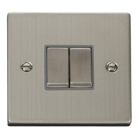 Click Deco Stainless Steel 2 Gang 2 Way Switch VPSS412GY